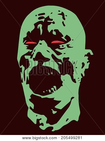 Green zombie screams head. Vector illustration. Scary character face. The horror genre.