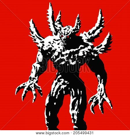 Horned monster with spikes stands ready to attack. Vector illustration on red background. Scary character. The horror genre.