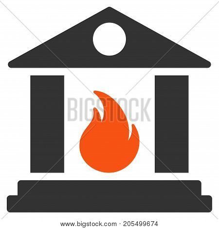 Sacrificial Temple Fire flat vector pictograph. An isolated illustration on a white background.
