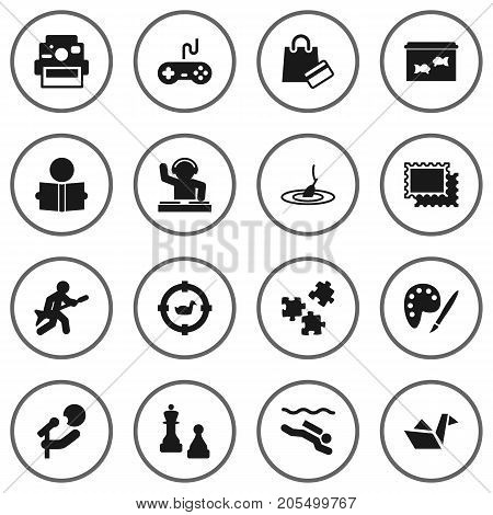 Collection Of Learning, Checkmate, Fish And Other Elements.  Set Of 16 Entertainment Icons Set.