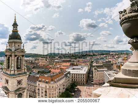 Panoramic view with clouds from the St. Stephen's Basilica, Budapest, Hungary at the summer.