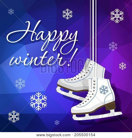 Pair of white Ice skates. Figure skates. Women's ice skates hanging on the laces. Vector illustration background
