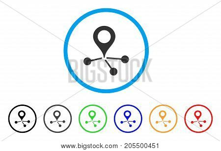 Location Links rounded icon. Style is a flat location links gray symbol inside light blue circle with black, gray, green, blue, red, orange color versions.