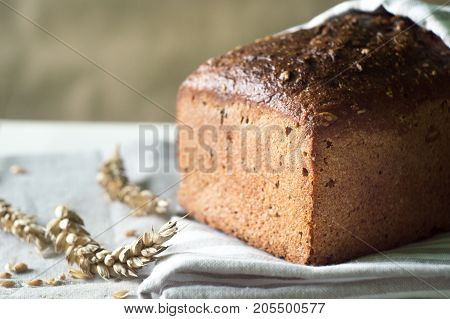 Fresh and crusty rustic sourdough bread and ears of wheat on kitchen towel