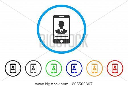 Mobile Manager Contact rounded icon. Style is a flat mobile manager contact grey symbol inside light blue circle with black, gray, green, blue, red, orange versions.