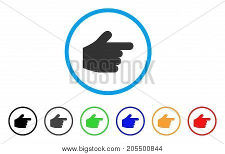 Pointer Finger rounded icon. Style is a flat pointer finger grey symbol inside light blue circle with black, gray, green, blue, red, orange variants. Vector designed for web and software interfaces.