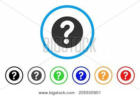 Query rounded icon. Style is a flat query grey symbol inside light blue circle with black, gray, green, blue, red, orange variants. Vector designed for web and software interfaces.