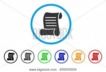 Script Roll rounded icon. Style is a flat script roll gray symbol inside light blue circle with black, gray, green, blue, red, orange versions. Vector designed for web and software interfaces.