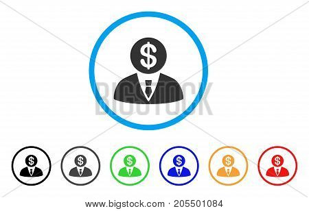 Banker rounded icon. Style is a flat banker gray symbol inside light blue circle with black, gray, green, blue, red, orange variants. Vector designed for web and software interfaces.