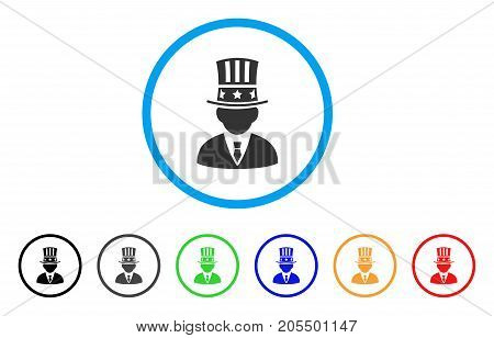 Capitalist rounded icon. Style is a flat capitalist grey symbol inside light blue circle with black, gray, green, blue, red, orange versions. Vector designed for web and software interfaces.