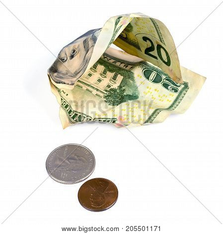 Crumpled dollars and small change on a white background