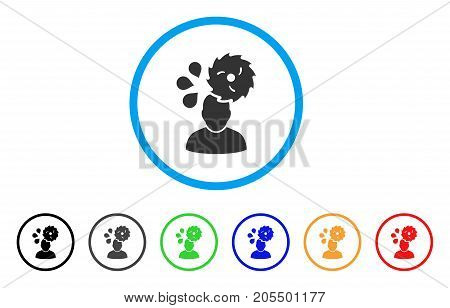 Circular Saw Accident rounded icon. Style is a flat circular saw accident grey symbol inside light blue circle with black, gray, green, blue, red, orange variants.