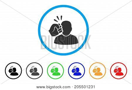 Crime Violation Fist Strike rounded icon. Style is a flat crime violation fist strike gray symbol inside light blue circle with black, gray, green, blue, red, orange variants.