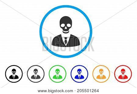 Deadly Manager rounded icon. Style is a flat deadly manager gray symbol inside light blue circle with black, gray, green, blue, red, orange versions. Vector designed for web and software interfaces.