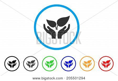 Eco Startup rounded icon. Style is a flat eco startup gray symbol inside light blue circle with black, gray, green, blue, red, orange variants. Vector designed for web and software interfaces.