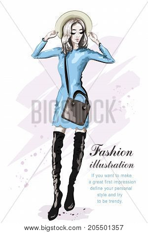 Hand drawn cute girl in hat. Stylish beautiful young woman in dress. Fashion model. Sketch. Vector illustration.