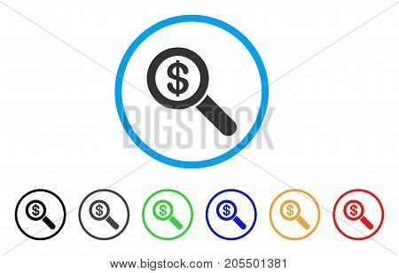 Financial Audit Loupe rounded icon. Style is a flat financial audit loupe grey symbol inside light blue circle with black, gray, green, blue, red, orange variants.