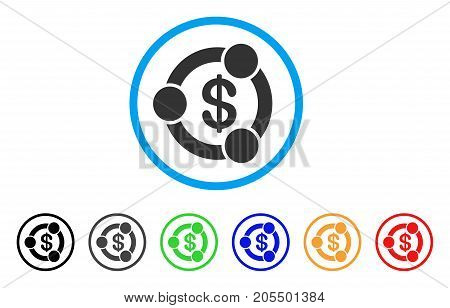 Financial Collaboration rounded icon. Style is a flat financial collaboration gray symbol inside light blue circle with black, gray, green, blue, red, orange color versions.