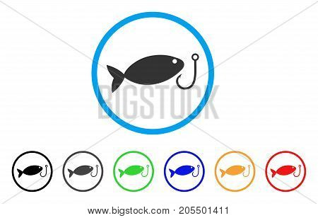 Fish Hook rounded icon. Style is a flat fish hook gray symbol inside light blue circle with black, gray, green, blue, red, orange color versions. Vector designed for web and software interfaces.