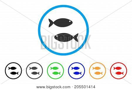 Fish Pair rounded icon. Style is a flat fish pair grey symbol inside light blue circle with black, gray, green, blue, red, orange color versions. Vector designed for web and software interfaces.
