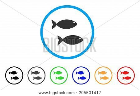 Fish Pair rounded icon. Style is a flat fish pair grey symbol inside light blue circle with black, gray, green, blue, red, orange versions. Vector designed for web and software interfaces.