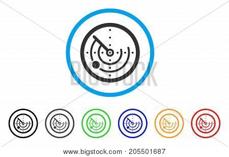 Radar rounded icon. Style is a flat radar grey symbol inside light blue circle with black, gray, green, blue, red, orange color versions. Vector designed for web and software interfaces.