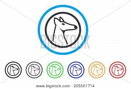 Rounded Fox Head rounded icon. Style is a flat rounded fox head grey symbol inside light blue circle with black, gray, green, blue, red, orange versions.