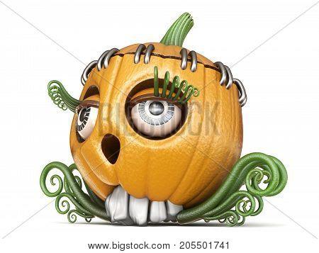 Halloween Pumpkin Jack O Lantern Lady 3D