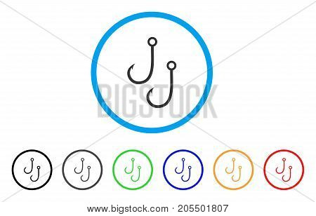 Two Fishing Hooks rounded icon. Style is a flat two fishing hooks gray symbol inside light blue circle with black, gray, green, blue, red, orange color versions.