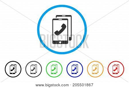 Cell Phones rounded icon. Style is a flat cell phones grey symbol inside light blue circle with black, gray, green, blue, red, orange variants. Vector designed for web and software interfaces.