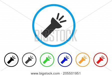 Electric Torch Light rounded icon. Style is a flat electric torch light gray symbol inside light blue circle with black, gray, green, blue, red, orange color versions.
