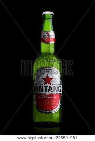 London,uk - September 24, 2017: Bottle Of Indonesian Bintang Lager Beer Isolated On Black