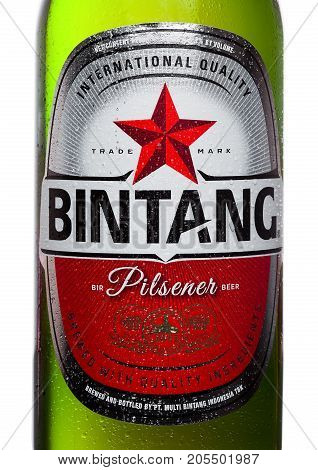 London,uk - September 24, 2017: Bottle Label Of Indonesian Bintang Lager Beer Isolated On White