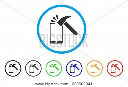 Hammer Break Smartphone rounded icon. Style is a flat hammer break smartphone grey symbol inside light blue circle with black, gray, green, blue, red, orange versions.
