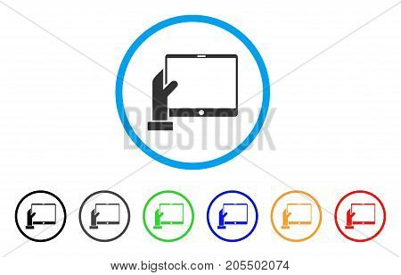 Hand Holds PDA rounded icon. Style is a flat hand holds pda grey symbol inside light blue circle with black, gray, green, blue, red, orange variants. Vector designed for web and software interfaces.