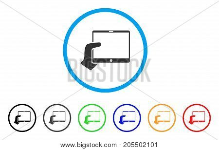 Hand Holds Tablet rounded icon. Style is a flat hand holds tablet gray symbol inside light blue circle with black, gray, green, blue, red, orange color versions.