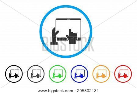 Hand Points PDA rounded icon. Style is a flat hand points pda gray symbol inside light blue circle with black, gray, green, blue, red, orange color versions.