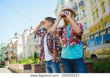 group of children travel in Europe. Tourism and Vacation concept.