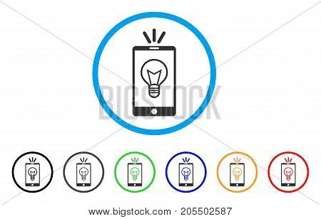Mobile Lamp Light rounded icon. Style is a flat mobile lamp light grey symbol inside light blue circle with black, gray, green, blue, red, orange color versions.