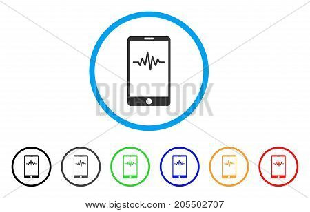Mobile Signal Graph rounded icon. Style is a flat mobile signal graph grey symbol inside light blue circle with black, gray, green, blue, red, orange variants.