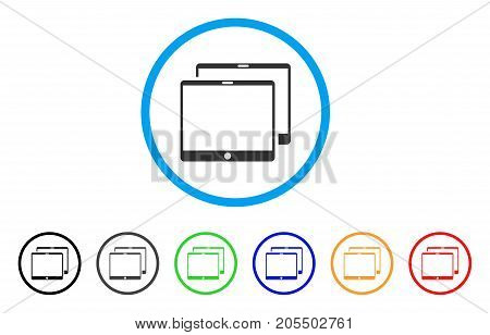 Mobile Tabs rounded icon. Style is a flat mobile tabs grey symbol inside light blue circle with black, gray, green, blue, red, orange variants. Vector designed for web and software interfaces.