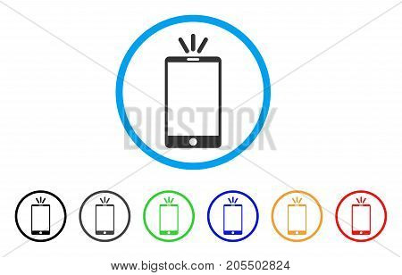 Mobile Torch rounded icon. Style is a flat mobile torch gray symbol inside light blue circle with black, gray, green, blue, red, orange color versions. Vector designed for web and software interfaces.