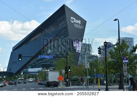 MINNESOTA, MINNEAPOLIS - JUL 27: US Bank Stadium in Minneapolis, Minnesota, as seen on July 27, 2017. It is the home of the Minnesota Vikings of the National Football League (NFL).