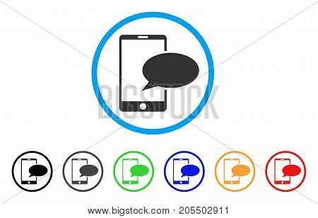 Phone Message rounded icon. Style is a flat phone message grey symbol inside light blue circle with black, gray, green, blue, red, orange versions. Vector designed for web and software interfaces.