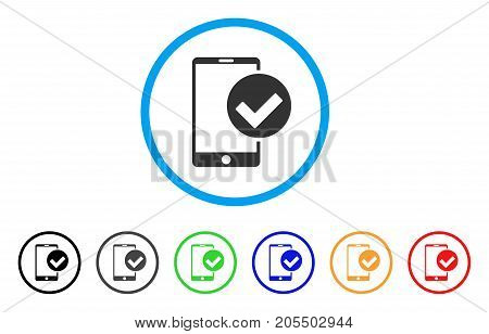 Phone Ok rounded icon. Style is a flat phone ok gray symbol inside light blue circle with black, gray, green, blue, red, orange variants. Vector designed for web and software interfaces.