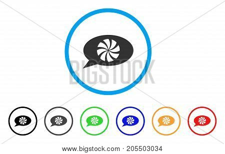 Refresh Message rounded icon. Style is a flat refresh message gray symbol inside light blue circle with black, gray, green, blue, red, orange variants. Vector designed for web and software interfaces.