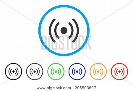 Wi-Fi Source rounded icon. Style is a flat wi-fi source gray symbol inside light blue circle with black, gray, green, blue, red, orange versions. Vector designed for web and software interfaces.