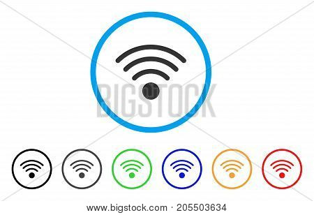 Wi-Fi Source rounded icon. Style is a flat wi-fi source grey symbol inside light blue circle with black, gray, green, blue, red, orange color versions. Vector designed for web and software interfaces.