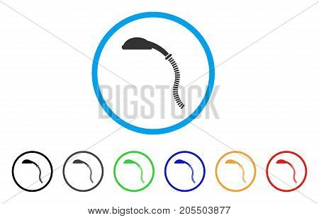 Flexible Shower rounded icon. Style is a flat flexible shower gray symbol inside light blue circle with black, gray, green, blue, red, orange versions. Vector designed for web and software interfaces.