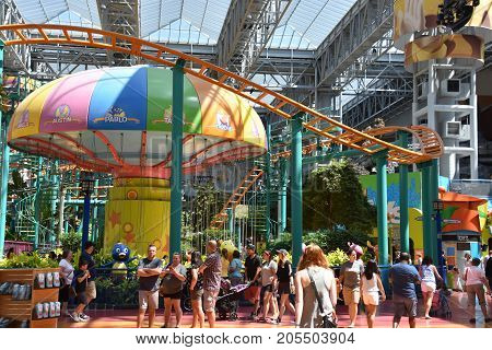 BLOOMINGTON, MINNESOTA - JUL 27:  Nickelodeon Universe at the Mall of America in Bloomington, Minnesota, as seen on July 27, 2017.  It is the largest indoor amusement park in the United States.